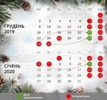 Перенесення робочих днів у грудні 2019 року